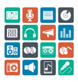 Silhouette Music and audio equipment icons vector image vector image