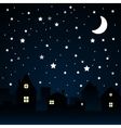 Stars Sky Night Silhouette of the City Moon vector image vector image