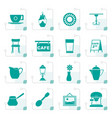 stylized cafe and coffeehouse icons vector image vector image