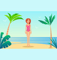 summer rest banner pretty woman in mode swimsuit vector image vector image