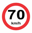 Traffic sign speed limit 70