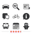 transport icons car bicycle bus and ship vector image