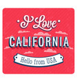 vintage greeting card from california vector image vector image