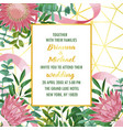 wedding invitation with protea and greenery on vector image vector image
