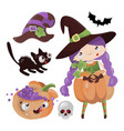 witch pumpkin halloween cartoon set vector image vector image