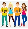 young students using mobile phones vector image vector image