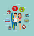 young tourist couple vector image vector image