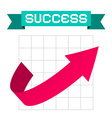 Success Arrow on Graph and Retro Ribbon vector image