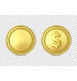 3d realistic golden metal coin icon set vector image vector image
