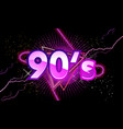 90s retro banner with neon light vector image vector image