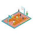 basketball training children play basketball vector image