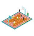 basketball training children play vector image