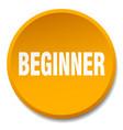 beginner orange round flat isolated push button vector image vector image