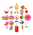 birthday party icons set cartoon style vector image vector image