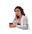 brunette business woman in white jacket and blue vector image vector image