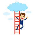businessman climbing stair into the cloud vector image