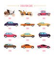 cars evolution retro vehicles and modern transport vector image vector image