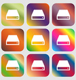 CD-ROM icon Nine buttons with bright gradients for