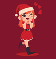 Christmas Girl Walking and Spreading Love vector image vector image