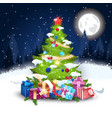 christmas tree decorated with colorful balls and vector image