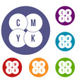 cmyk circles icons set vector image vector image