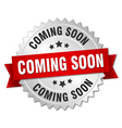 coming soon 3d silver badge with red ribbon vector image vector image