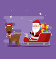 deer with santa claus in the sled and gifts vector image vector image