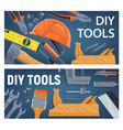 diy construction tools and equipment vector image vector image