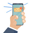 email notification on smartphone and in hand vector image