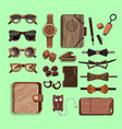 fashionable hipster wooden elements set vector image vector image