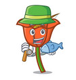 fishing poppy flower mascot cartoon vector image