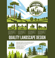 garden and park landscape architecture poster vector image vector image