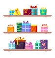 gifts on shelves greeting colored packages of vector image vector image