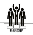 group of business people with podium teamwork vector image