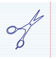 hair cutting scissors sign navy line icon vector image vector image
