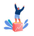 happy business man stand on top rising diagram vector image
