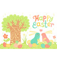 Happy easter festive postcard with rabbits painted