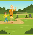 happy grandmother spending time with kid in park vector image vector image