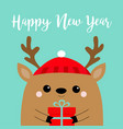 happy new year raindeer deer head face holding vector image vector image