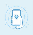 heart shape icon on smartphone screen vector image vector image