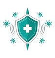 immune system icon immunity medical shield vector image vector image