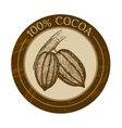 label with cocoa beans vector image vector image