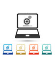 laptop update process with gearbox and loading bar vector image vector image