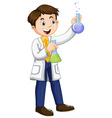 Male scientist holding beakers vector image vector image