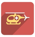 Medical Helicopter Flat Rounded Square Icon with vector image vector image