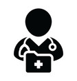 medical report icon with male doctor person vector image vector image