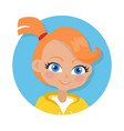 nice smiling girl with pigtail cartoon style vector image vector image
