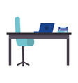 office work place isolated icon vector image vector image