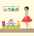 pretty smiling girl in red skirt clothes shop vector image vector image
