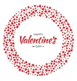 Red Hearts Circle Frame Valentines Day Design Card vector image